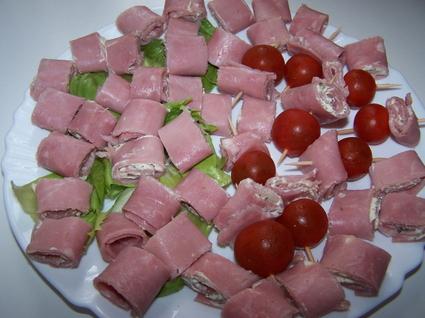 Recette roulés de jambon au fromage (amuse gueule)