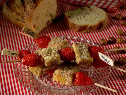 Recette de brochettes de pain perdu aux noisettes