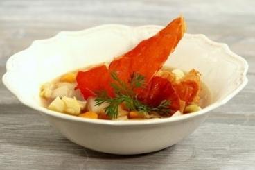 Recette de potage d'hiver et chips de jambon facile et rapide