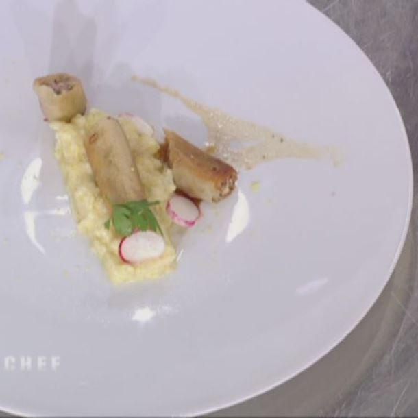 Recette risotto de chou fleur croustillant de poule au pot