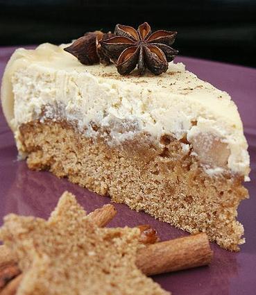 Recette de cheesecake poires caramélisées et pain d'épices