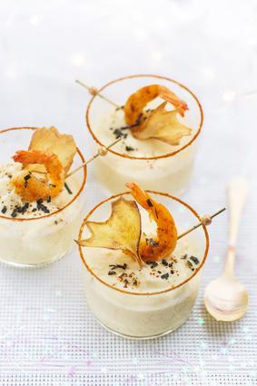 Verrines de velouté de panais et crevettes