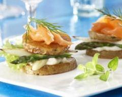 Recette toasts de pommes de terre aux asperges et au saumon