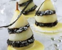 Recette poires pochées chocolat et vanille
