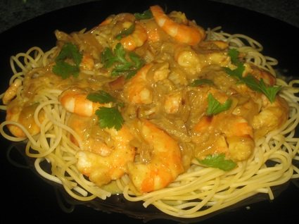 Recette de spaghettis sauce crevettes-coco