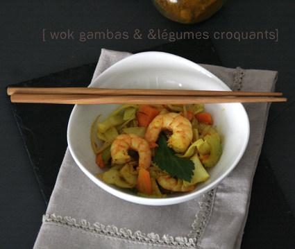Recette de wok gambas et légumes croquants