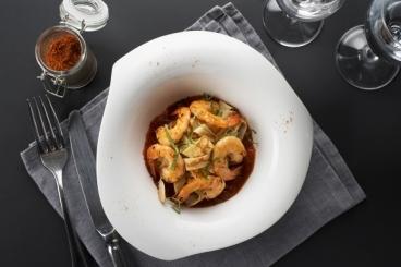 Recette de tagliatelle de crêpes aux gambas, sauce tomates rapide