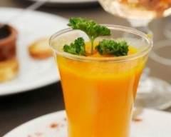 Recette soupe de carottes, potiron, lait de coco et curry en verrine