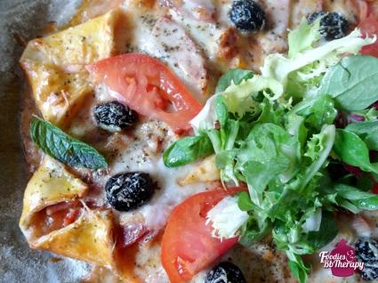 Recette de pizza étoile au jambon, mozzarella, comté et olives