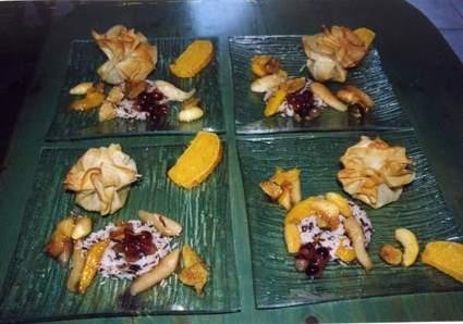 Recette aumônière de foie gras frais et ses riz aux fruits