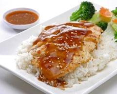 Recette poulet au miel et à la moutarde, riz et petits légumes