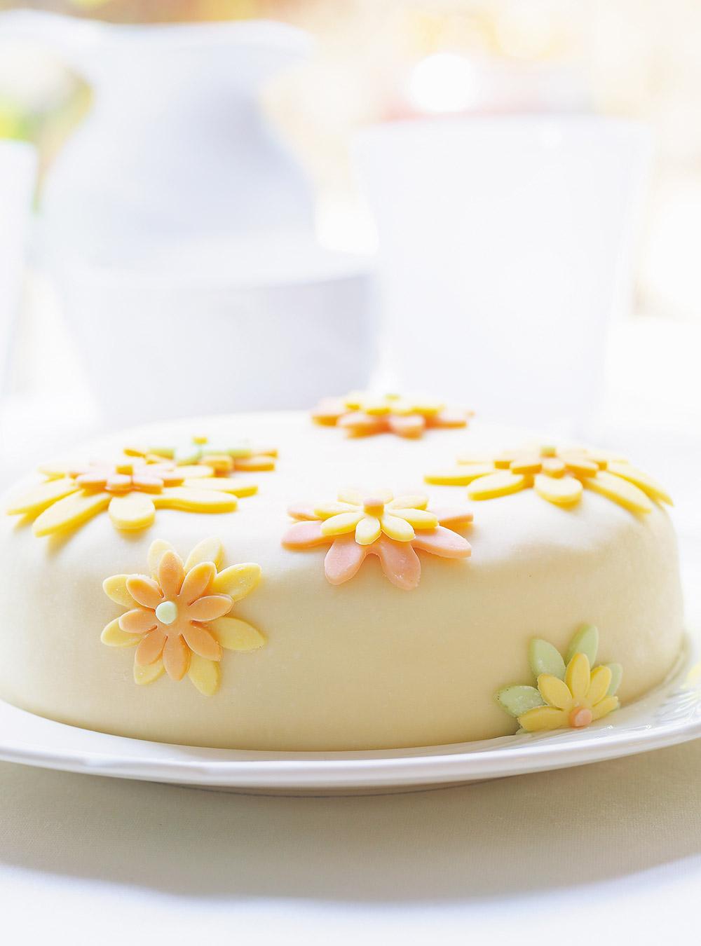 Gâteau à la vanille et à la gelée de petits fruits, pâte au chocolat blanc