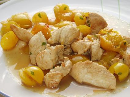 Recette emincé de poulet aux mirabelles
