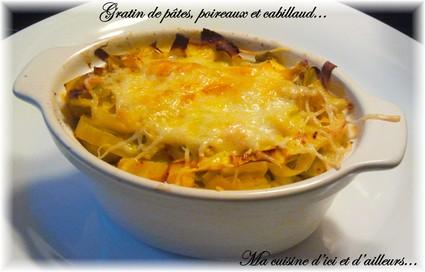 Recette de gratin de pâtes, poireaux et cabillaud