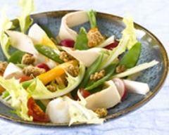 Recette salade de poulet et crumble au pain d'épices