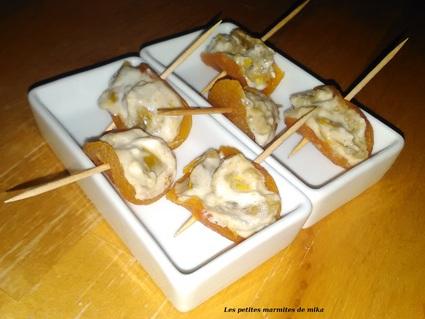 Recette de bouchées apéritives d'abricots farcis