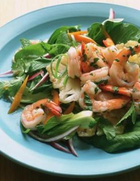 Petite salade de mâche, crevettes roses et vinaigrette aux agrumes ...