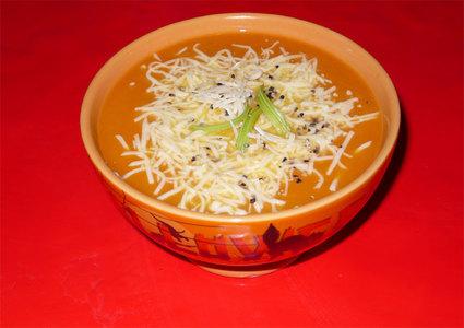 Recette de soupe au potiron, beurre d'escargot et gruyère