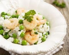 Recette risotto aux petits pois et crevettes