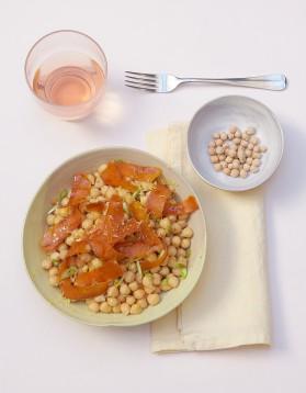 Salade de pois chiches à la poutargue pour 4 personnes