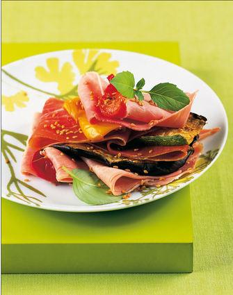 Recette de millefeuille de jambons cuit et sec, légumes