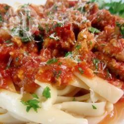 Recette tagliatelles, sauce tomates, saucisses et pancetta – toutes ...