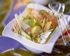 Recette salade au concombre, carottes et pamplemousse minceur
