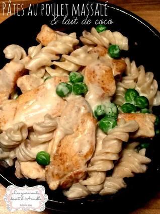 Recette de pâtes au poulet massalé et lait de coco
