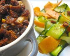 Recette crumble de poulet au pain d'épice et tagliatelles de légumes