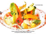 Recette risotto au pistou de tomates, légumes croquants et parmesan