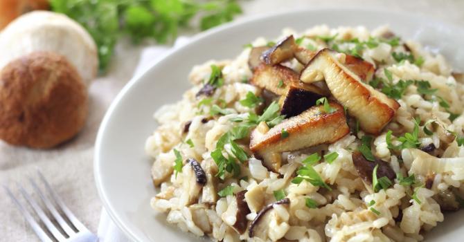 Recette de risotto aux champignons et échine de porc maison
