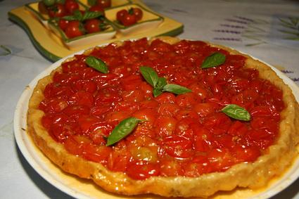 Recette de tatin de tomates cerises, pesto et parmesan
