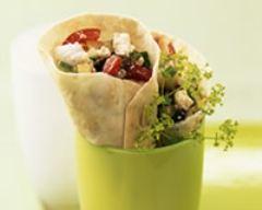 Recette salade crétoise en cornets de pain tortilla
