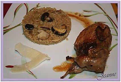 Recette de cailles vin blanc risotto aux champignons des bois