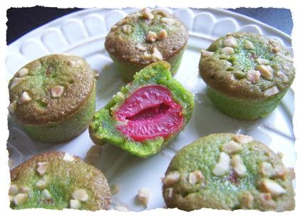 Recette de petits moelleux pistache cerise