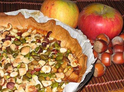 Recette de tarte de pommes aux trois fruits secs