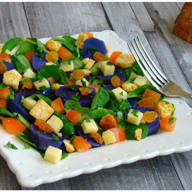 Recette salade de pommes de terres vitelotte au fromage vauban ...