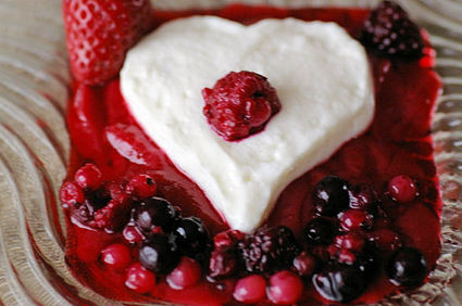 Recette de coeurs de crème aux fruits rouges
