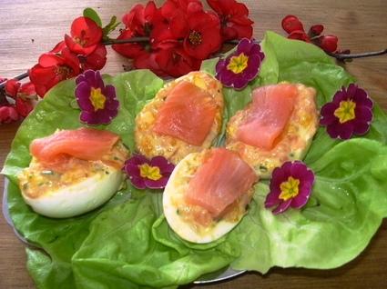 Recette oeufs farcis aux languettes de saumon