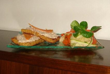 Recette de tartines de pain perdu à la sardine et leur salade