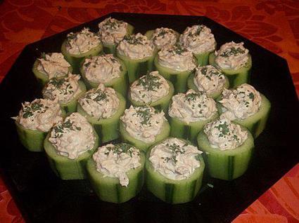 Recette de canapé de concombre au thon