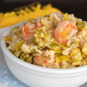 Risotto au poireau et crevettes pour 4 personnes