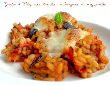 Recette de gratin d'ebly aux tomates, aubergines et mozzarella