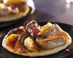 Recette tatin de foie gras chaud et pommes au miel
