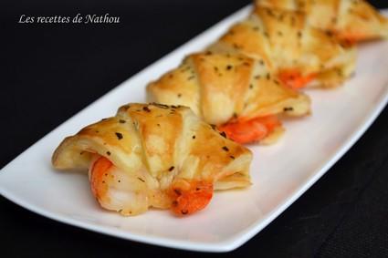 Recette de croissants feuilletés aux gambas marinés