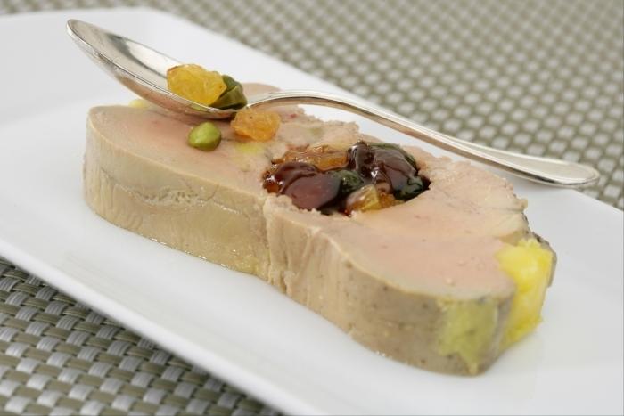Recette de terrine de foie gras, coeur de fruits secs marinés à l ...
