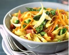 Recette pâtes aux petits légumes et au jambon