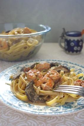Recette de tagliatelles crevettes et crème aux champignons