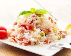 Recette salade de riz aux légumes et dés de jambon