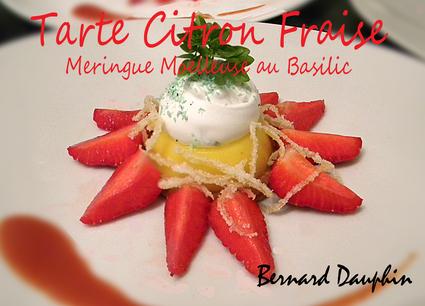 Recette de tarte citron fraise, meringue moelleuse au basilic
